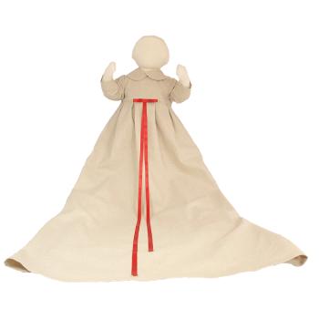 Minimundus dopklänning av oblekt naturtyg lin/bomull rött band