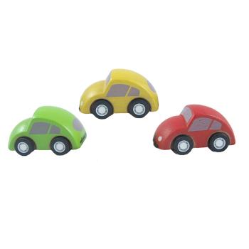 Tre små bilar av gummiträ PlanToys