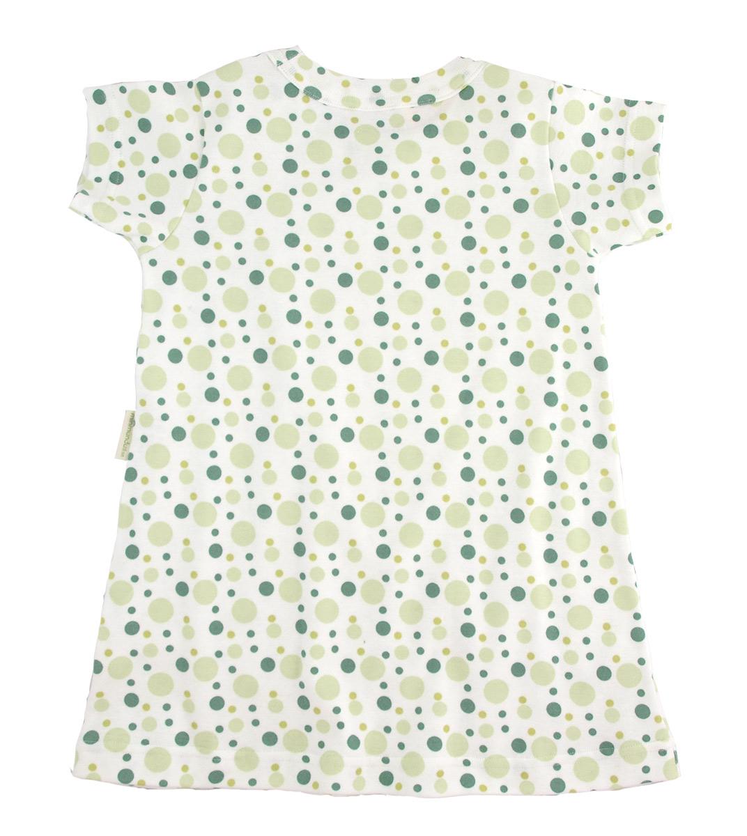 Klänning med kort ärm 100% ekologisk bomull gröna prickar eco bubbles