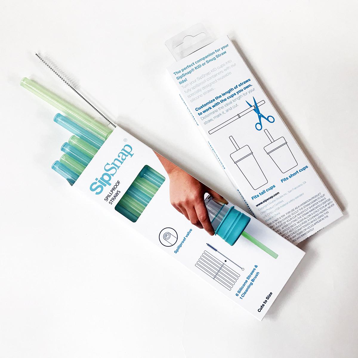 SipSnap läckagesäkert sugrör av livsmedelsgodkänd silikon 6-pack