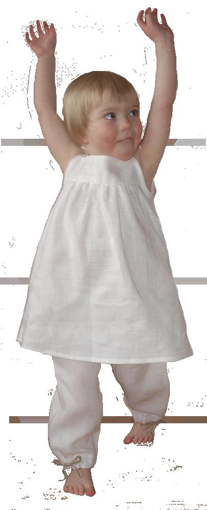Minimundus långbyxor med knyt av lin vit