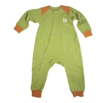 Tim&Teja overall jumpsuit 100% ekologisk bomull ekologiskt färgad grön med terrakottafärgade detaljer