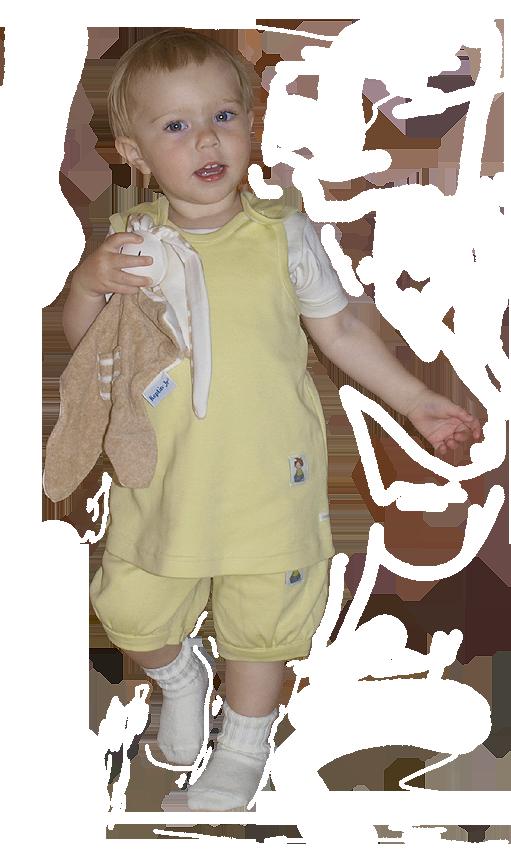 Tim&Teja hängselklänning och blöjshorts 100% ekologisk bomull ekologiskt färgad gul