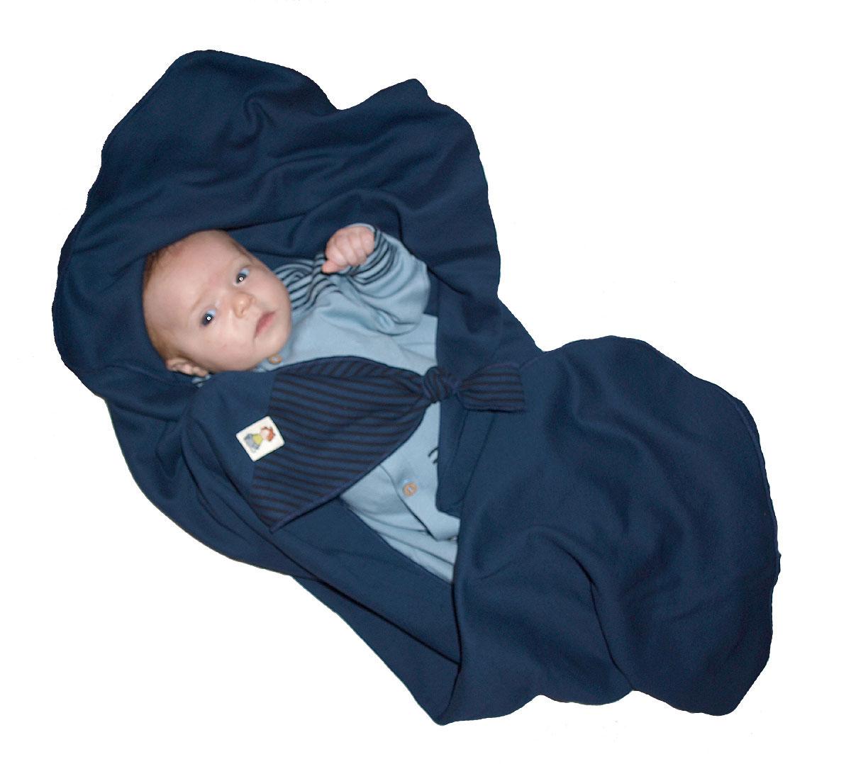 Minimundus ekologisk babyfilt med snuttehörn marinblå