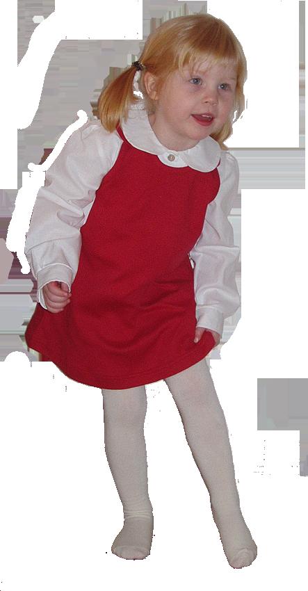 Minimundus blus av ekologisk bomull vit samt Tim&Teja hängselklänning röd 100% ekologisk bomull