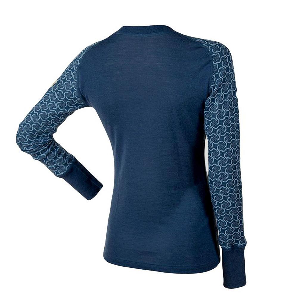 Janus DesignWool dam underställ merinoull tröja med lång ärm mörkblå