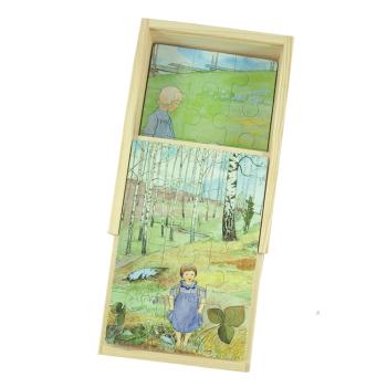 Pussel i låda av trä Elsa Beskow visor Hjelms