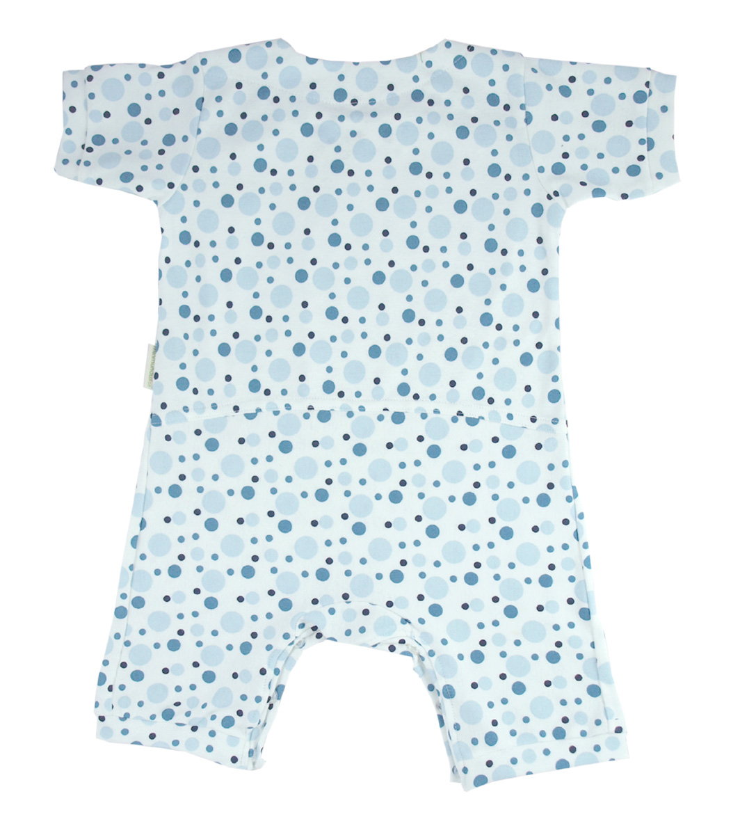 Minimundus jumpsuit romper 100% ekologisk bomull blå prickar