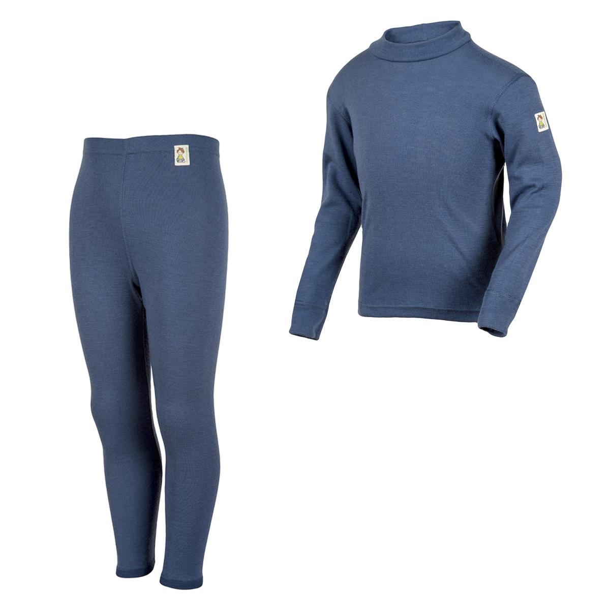 Minimundus underställ tröja och långkalsonger 100% ekologisk merinoull blå