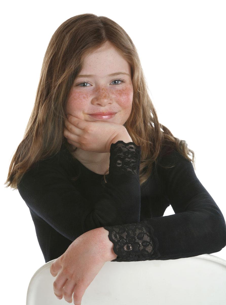 Janus barnull med spets 100% merinoull tröja med lång ärm svart