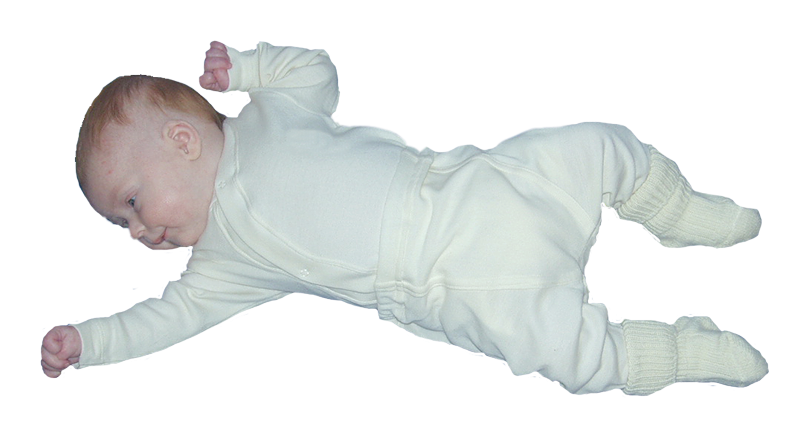 Minimundus babybyxor med mudddfot fotgömma 100% ekologisk bomull naturvit