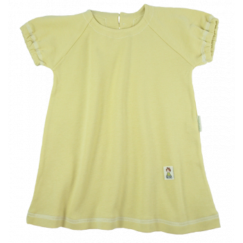 Tim&Teja klänning kort ärm 100% ekologisk bomull ekologiskt färgad gul