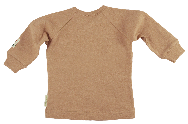 Minimundus tröja med omlotthals Coloured by Nature färgväxande 100% ekologisk bomull brun