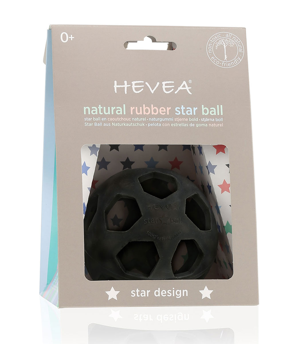 Heveababy boll av naturgummi stjärnboll svart