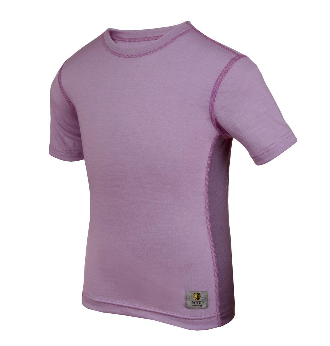 Janus LightWool barn t-shirt 100% merinoull lila
