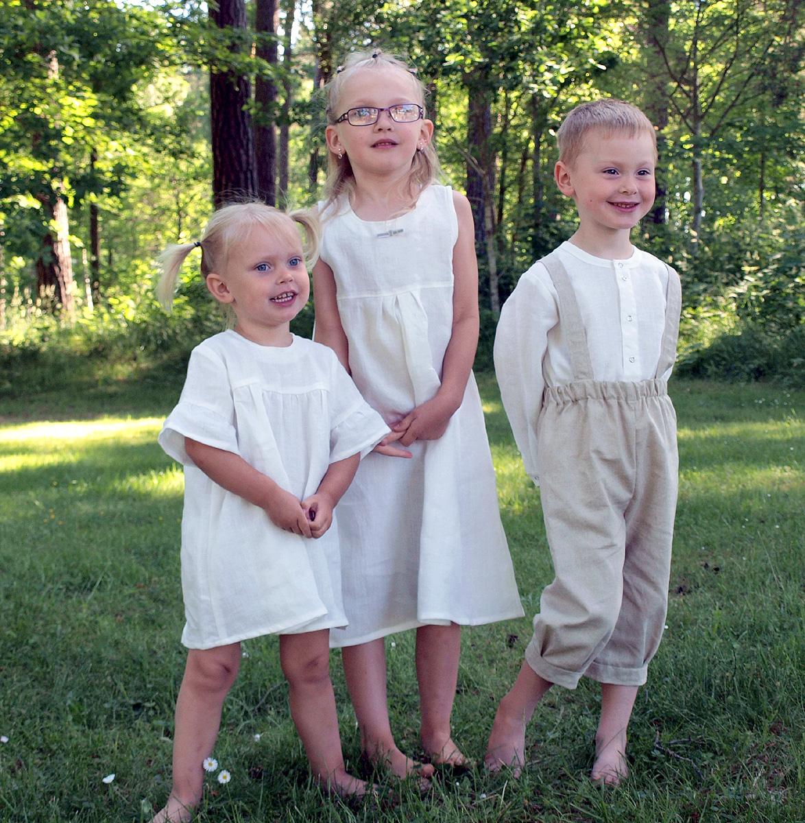Minimundus kläder av 100% ekologiskt lin och oblekt naturtyg lin/bomull