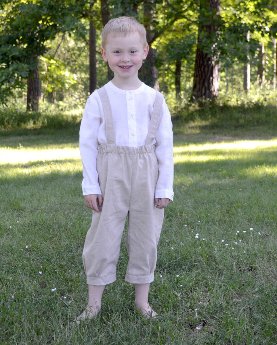 Minimundus barnskjorta av 100% ekologisk bomull vit knickers av oblekt naturtyg lin/bomull