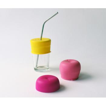 SipSnap läckagesäkert lock av silikon för sugrör rosa