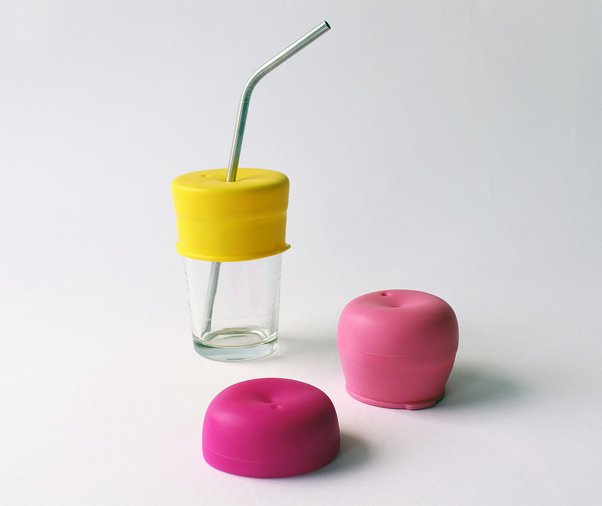 SipSnap KID läckagesäkert lock av silikon för sugrör rosa