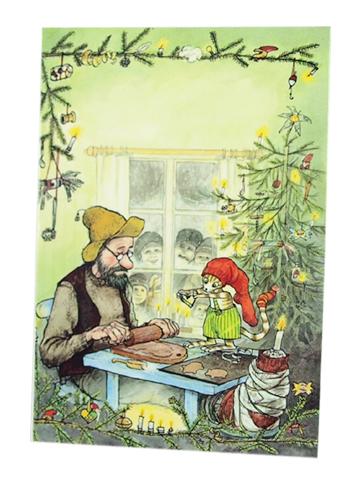 Julkort Pettson och Findus dubbelt med kuvert Pettson och Findus 9,5x6,5 cm