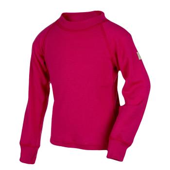 Janus barn ullunderställ tröja med lång ärm 100% merinoull hallonröd