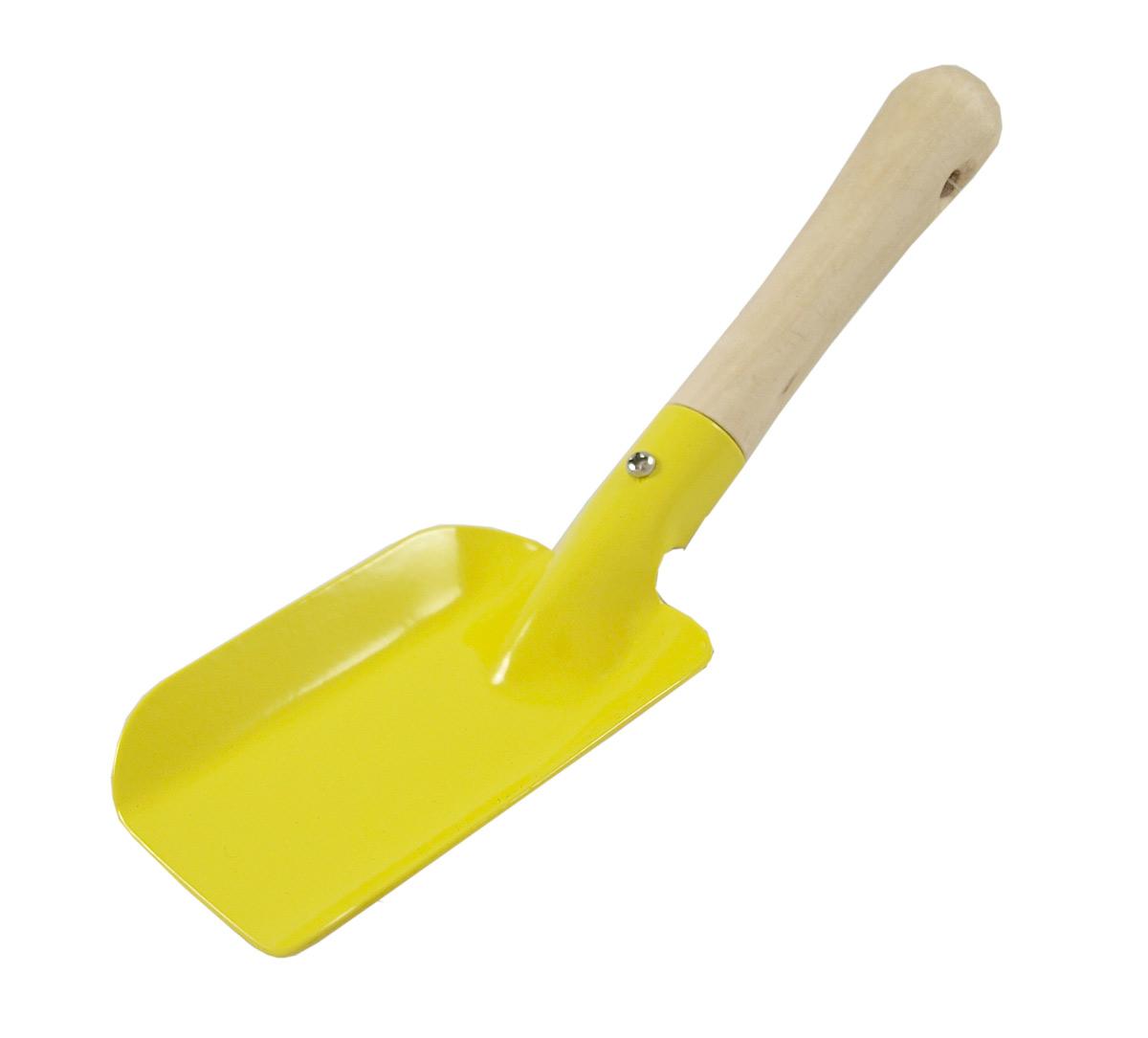 Spade av plåt med träskaft gul GOKI
