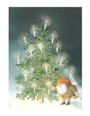 Julkort Tomtens gran minikort med kuvert 9,5x6,5 cm