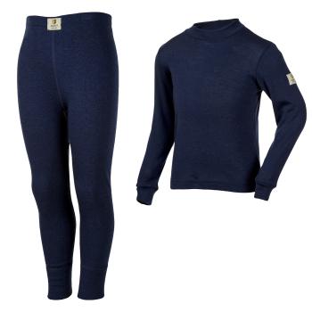 Janus ullunderställ barn 100% merinoull långkalsonger och tröja med lång ärm marinblå