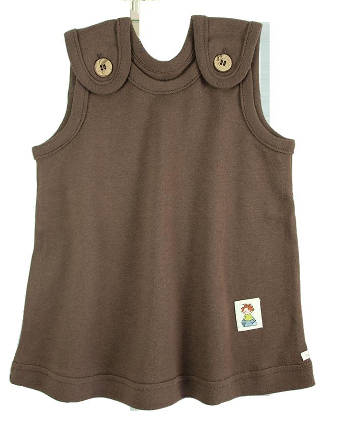 Tim&Teja babyklänning 100% ekologisk bomull ekologiskt färgad brun