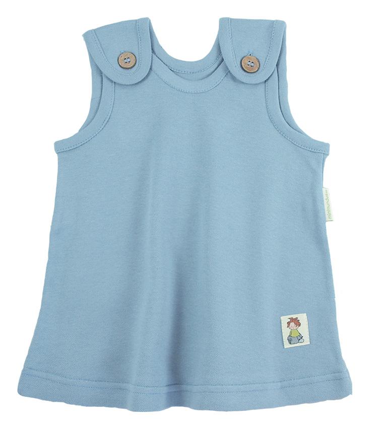 Tim&Teja hängselklänning baby 100% ekologisk bomull ekologiskt färgad ljusblå