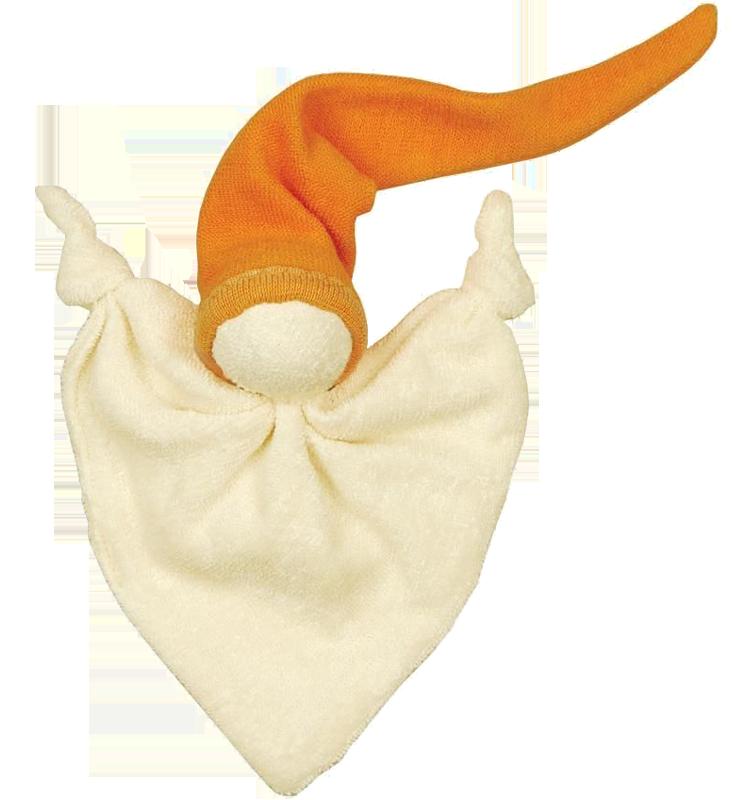 Litet snuttespöke skallra av 100% ekologisk bomull stoppad med ull orange luva Keptin-Jr