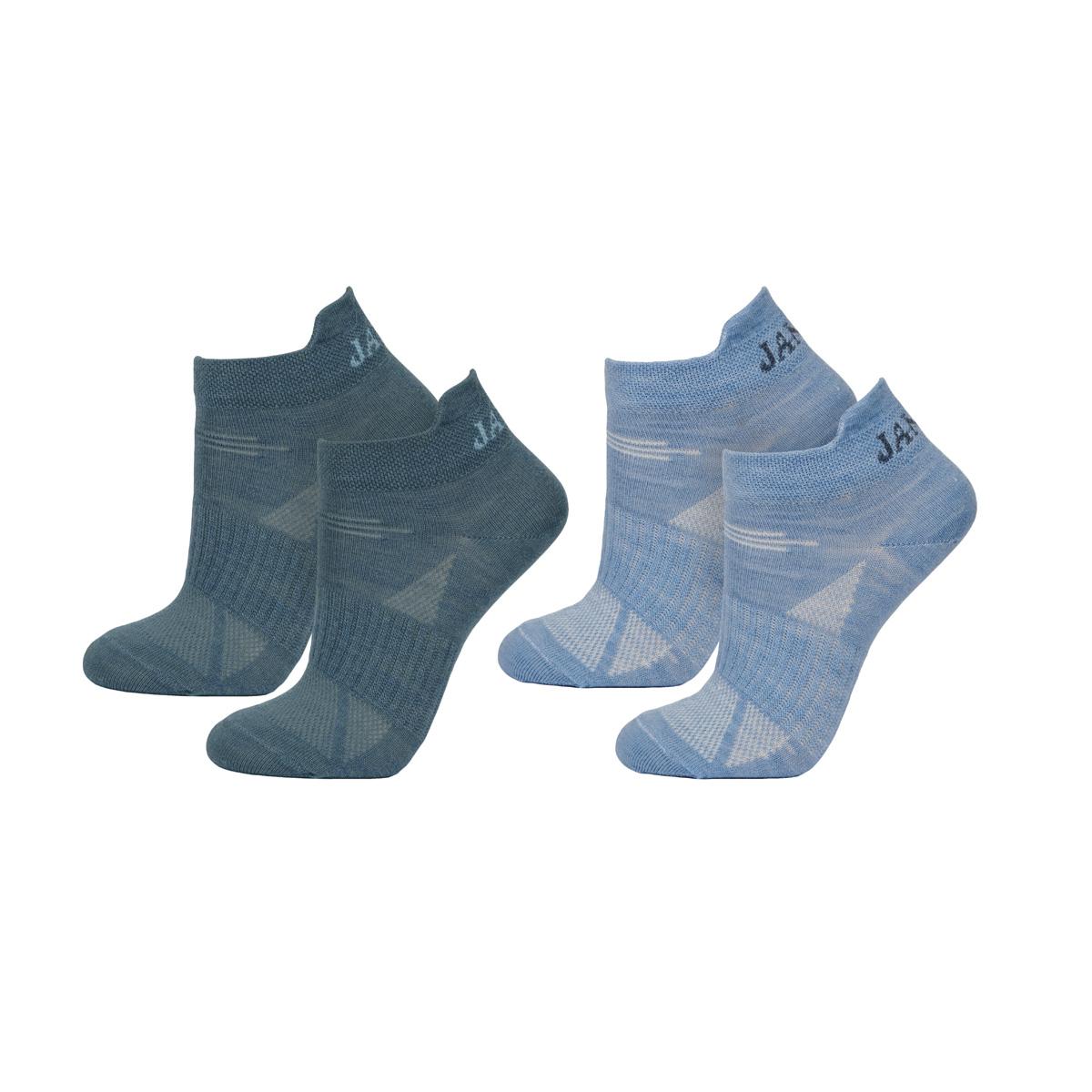 Janus ankelstrumpor kortsock meroínoull blå 2-pack