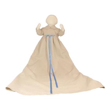 Minimundus dopklänning oblekt naturtyg med ljusblå band
