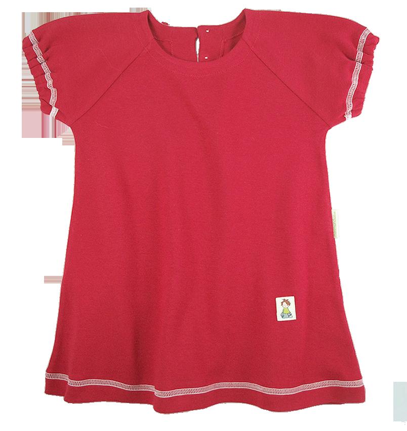 Tim&Teja klänning kort ärm 100% ekologisk bomull ekologiskt färgad röd