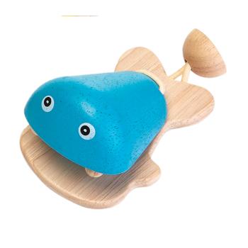 Kastanjett av gummiträ blå PlanToys
