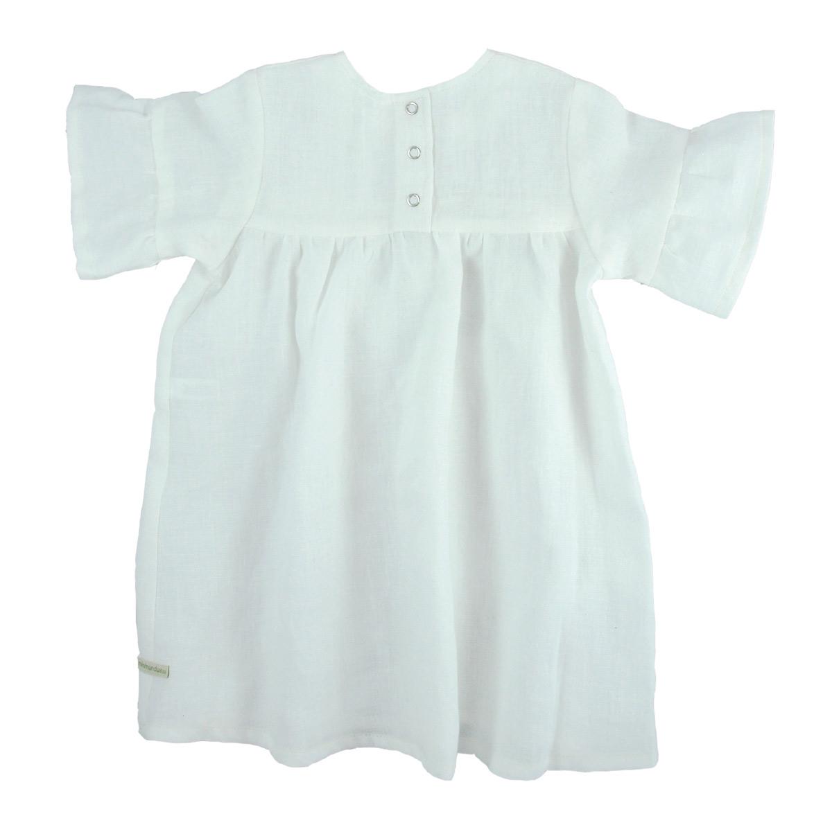 Minimundus klänning med kort ärm 100% ekologiskt lin vi