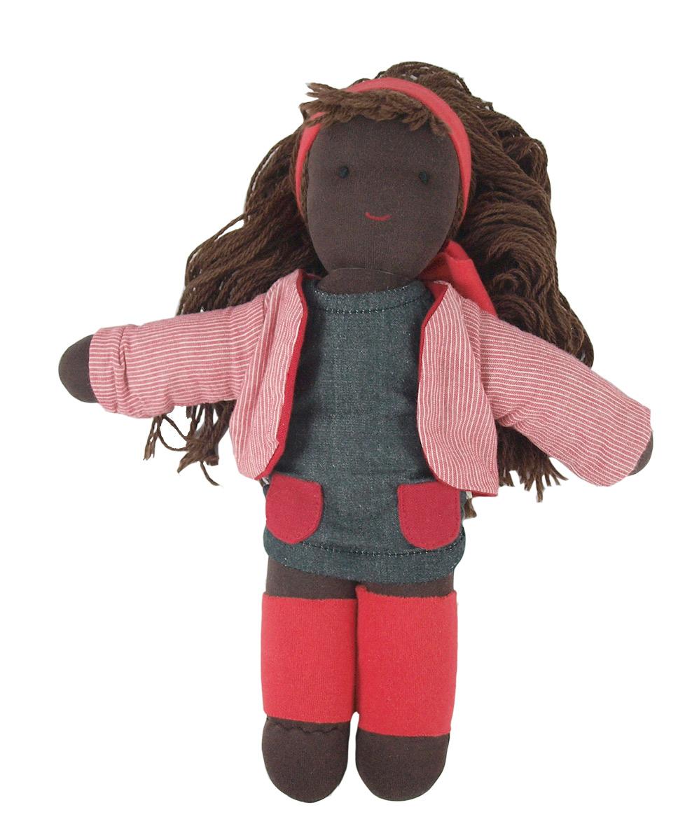 Waldorfdockan Rosie fairtrade handgjord ekologisk stoppad med ull Hoppa