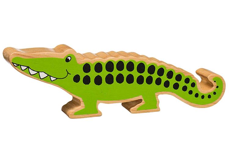 Krokodil av gummiträ handgjord FairTrade Lanka Kade