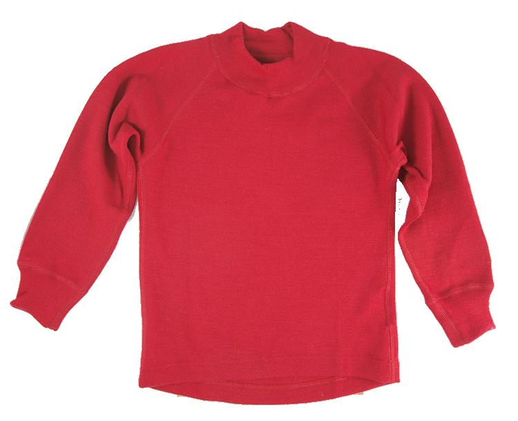 Minimundus tröja lång ärm av 100% merinoull röd