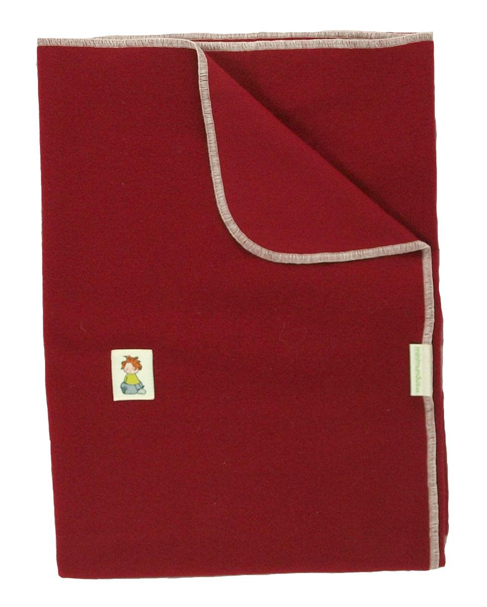 Minimundus filt av ullfleece vagn/vagga 100% merinoull röd