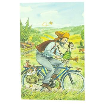Gratulationskort dubbelt med kuvert Pettson och Findus cyklar 9,5x6,5 cm