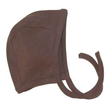 Tim&Teja mössa med knytband 100% ekologisk bomull ekologiskt färgad brun