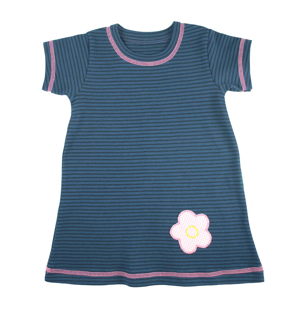 Tim&Teja klänning med kort ärm och applikation 100& ekologisk bomull ekologiskt färgad rand blå/svart/rosa