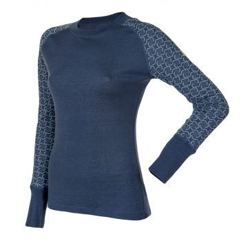 Janus DesignWool dam underställ merinoull långkalsonger och tröja med lång ärm mörkblå