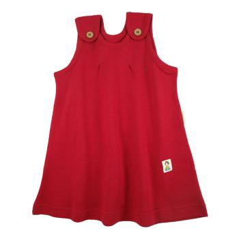 Tim&Teja hängselklänning 100% ekologisk bomull ekologiskt färgad röd