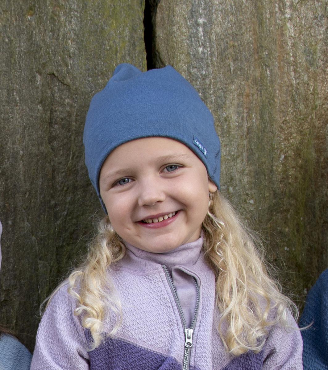 Janus beaniemössa barn blå 100% merinoull