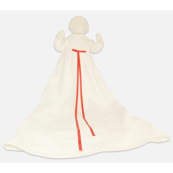 Minimundus dopklänning av ekologiskt lin vit med röda band