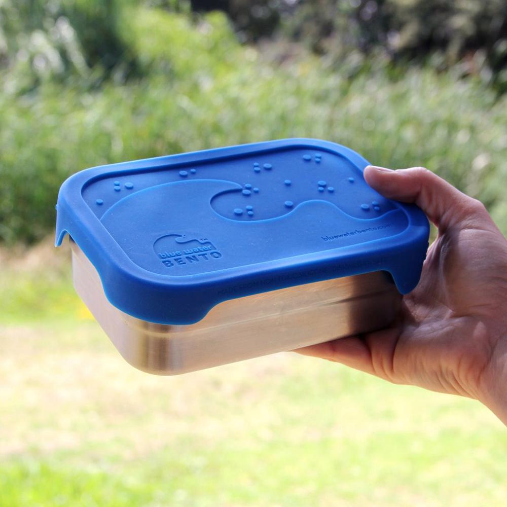 ECOLunchbox splashbox rostfritt stål med läckagesäkert lock av silikon 800mlstål 800 ml blått lock hållbart