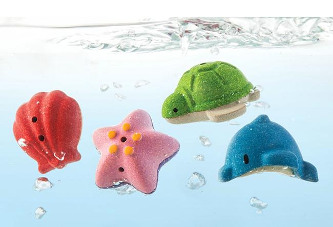 Badleksaker 4 havsdjur av PlanWood från PlanToys