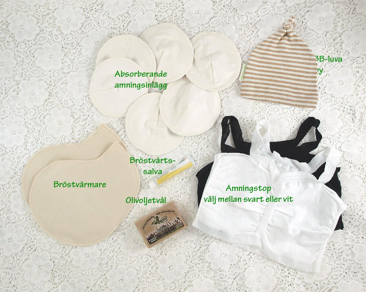 Minimundus sora amningspaket bröstvärmare amningsinlägg purelan agno olivtvål amningsbh babymössa